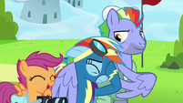 Rainbow embarrassed; Scootaloo laughing S7E7