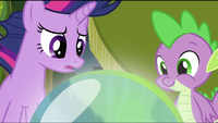 Twilight and Spike looking at the crystal ball S2E20
