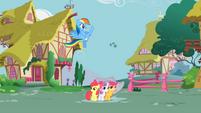Rainbow Dash kicking cloud away S2E23