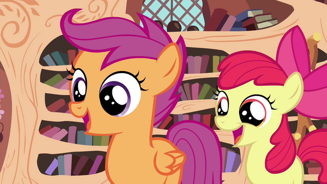 File:Scootaloo and Apple Bloom happy S4E15.png