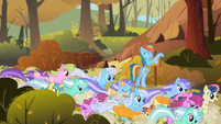 The other ponies pass Rainbow Dash S1E13