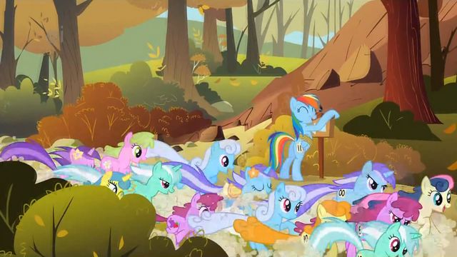 File:The other ponies pass Rainbow Dash S1E13.png