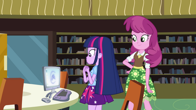 File:Cheerilee assists Twilight EG.png