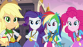 AJ, Rarity, Rainbow, and Pinkie wearing medals EG3.png