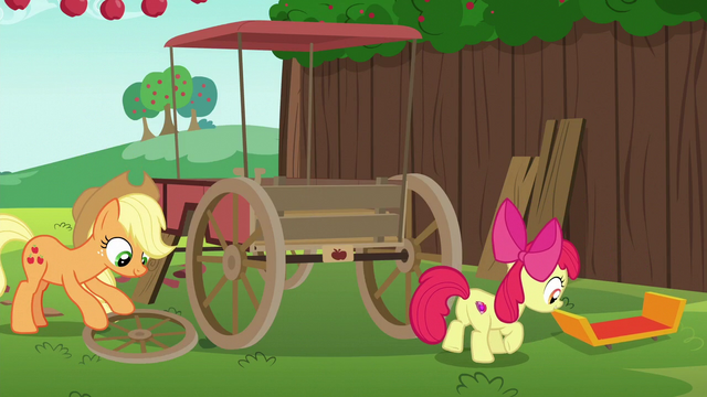 File:Apple Bloom drags car spoiler across the grass S6E14.png