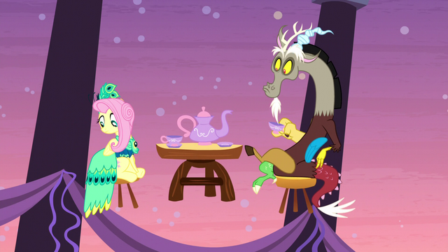 File:Discord and Fluttershy look at main five S5E7.png