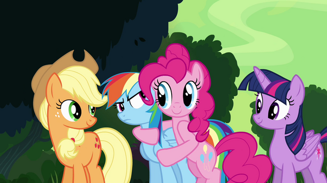 File:Pinkie Pie hugging Rainbow Dash S4E04.png