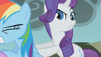 Rarity pushing Fluttershy S01E07
