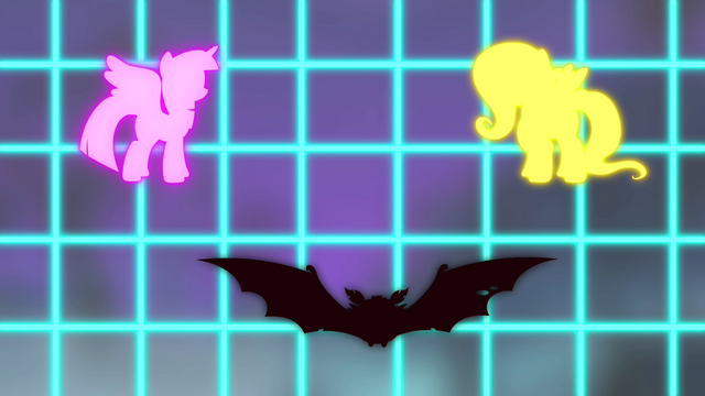 File:Twilight, Fluttershy, and vampire bat on screen S4E07.png