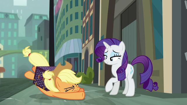 File:Applejack collapses after crossing the street S5E16.png