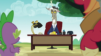 Discord returns in a toupee and behind a desk S6E17