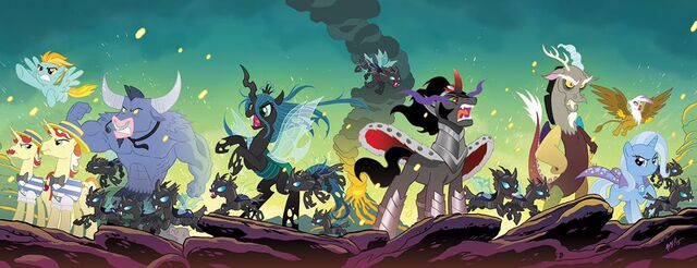 File:Comic issue 34-37 Hot Topic covers combined by Tony Fleecs.jpg