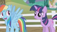 Rainbow Dash smiling at Twilight S1E3