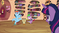 Twilight sees Rainbow, Owlowiscious and Spike playing around S4E21