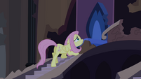 Fluttershy approaching Luna's throne S4E03