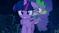 Frontal shot of Twilight running with Spike on her back S5E26.png