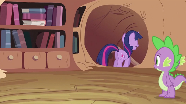 File:Spike looking at Twilight Sparkle leaving S2E03.png