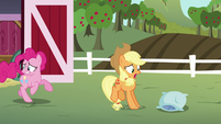 Pinkie and Applejack leave the barn S5E11