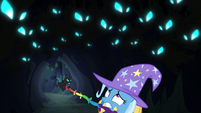 Trixie looks up at hiding changeling swarm S6E26