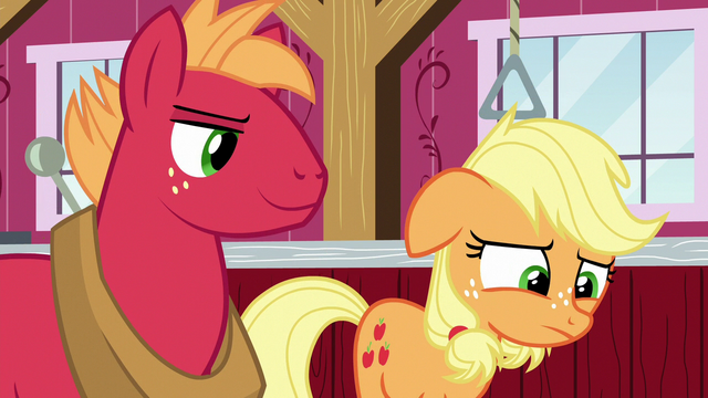 File:Applejack disappointed; Big Mac looking smug S6E23.png