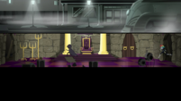 Cloaked figure runs through a fantasy movie set EGS2