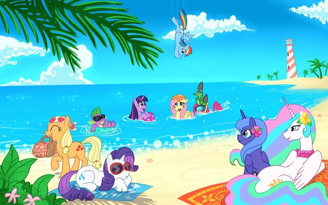File:FANMADE main cast on beach wallpaper.jpg