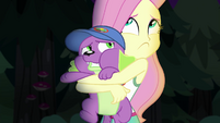 Fluttershy hugging Spike too tightly EG4