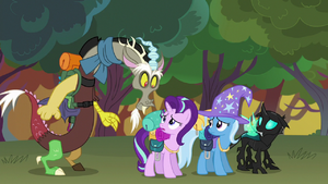 Trixie, Thorax, and Discord look at Starlight Glimmer S6E25.png