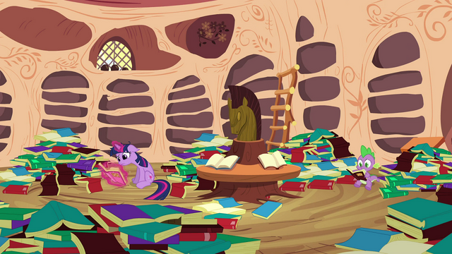 File:Twilight & Spike reading through books S2E21.png