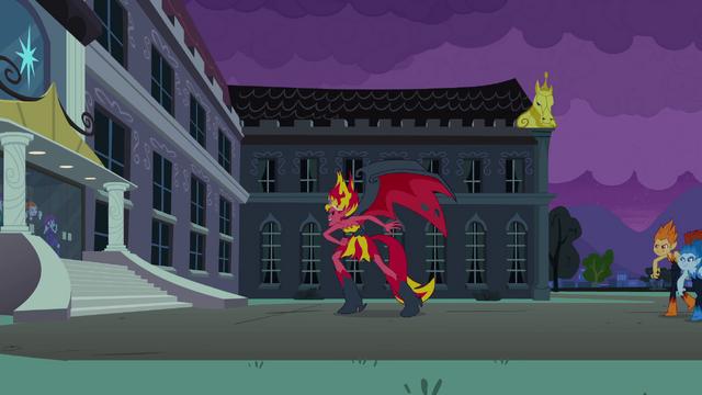 File:Demon Sunset Shimmer in front of the school EG.png