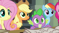 Fluttershy, AJ, Spike, and RD smiling at Twilight S4E25