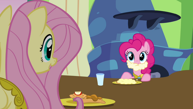 "File:Fluttershy and Pinkie ""care for some gravy?"" S03E10.png"