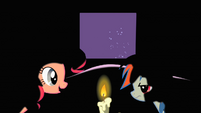 Pinkie Pie and Rainbow Dash whispering in the dark S1E21