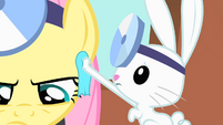 Angel wipes off Fluttershy's sweat S01E22