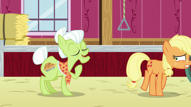 File:Applejack sneaks away as Granny tells her story S6E23.png