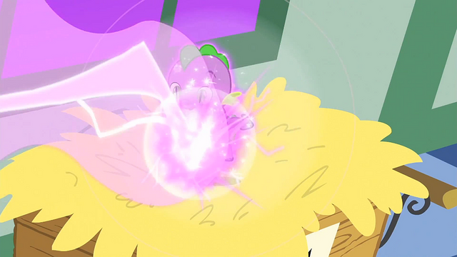 File:Baby Spike being shot by a beam of magic S1E23.png