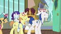 Interior decorator ponies leaving The Tasty Treat S6E12.png