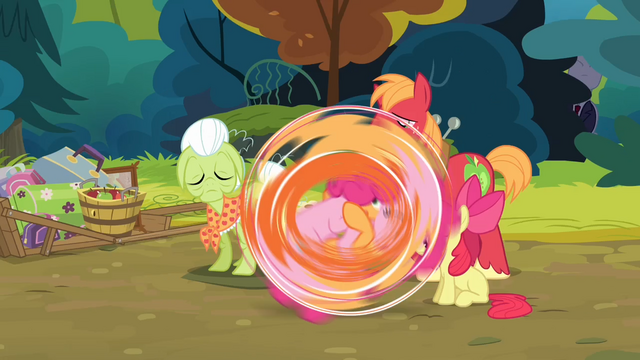 File:Pinkie Pie and Applejack rolling S4E09.png