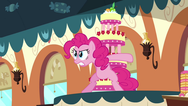 File:Pinkie Pie protecting the cake S2E24.png