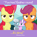 Diamond Tiara and Silver Spoon behind Apple Bloom and Scootaloo promotional S4E15