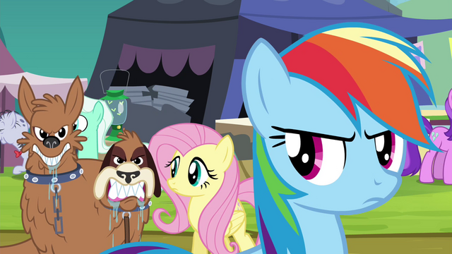 File:Orthros growls at Daring Do collector S4E22.png