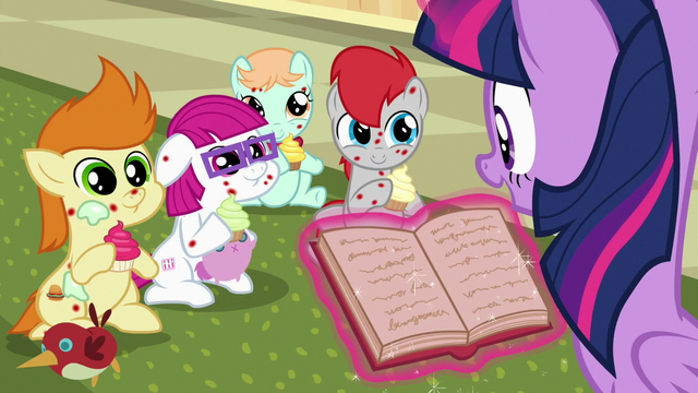 File:Sick foals listening as Twilight reads S7E3.png