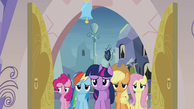 File:Main 5 ponies entering the spa S03E12.png
