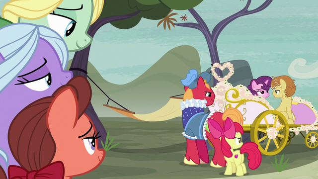 File:Big Mac and Apple Bloom watch Sugar Belle and Feather ride away S7E8.png