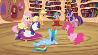 Main 6 ponies glaring at Spike S2E3