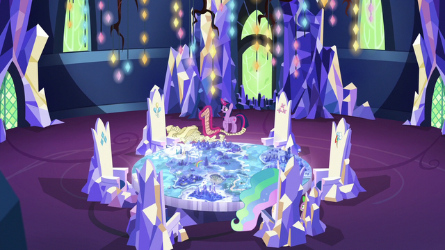 File:Twilight, Celestia, and Spike in the throne room S7E1.png
