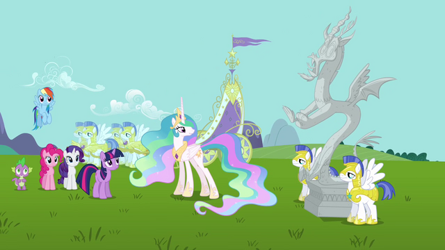 File:Main cast and Discord's statue wide shot S03E10.png