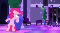 Pinkie Pie hiding behind a potted plant S6E9
