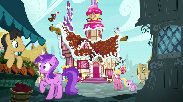 File:Ponyville ponies hear Pinkie Pie's outburst S7E11.png