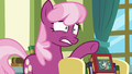 Cheerilee nervously points toward Flurry Heart S7E3.png